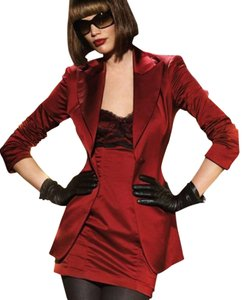 bebe Red Satin Lace Trim Bustier Dress & Blazer Combo