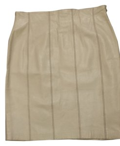Escada Leather Vintage Pencil Leather Skirt cream