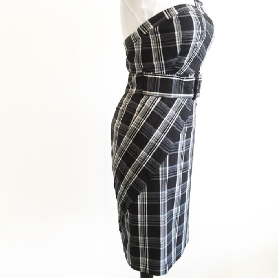 bebe black modern plaid pleated detail strapless knee length work office dress size 8 m tradesy. Black Bedroom Furniture Sets. Home Design Ideas