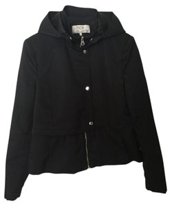 Zara Hood Peplum Hooded Black Jacket