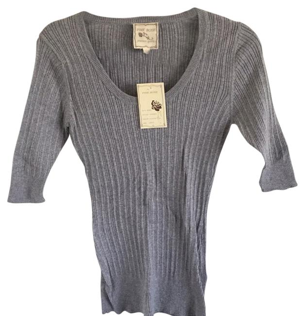 Item - Lightweight Cotton Poorboy Ribbed Heather Gray Sweater