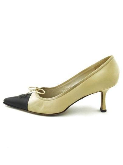 Chanel Leather Couture Tan and Black Pumps