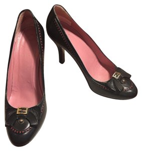 Fendi Black/Red/Gold-TONE FF Pumps