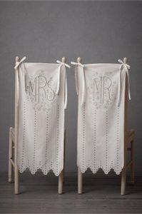 BHLDN Ivory Mr and Mrs Chair Covers