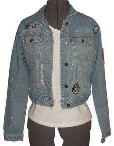 Rue 21 Long Sleeve * Button Front * 2 Flap Chest With Button Closure * Bleach Splatter Detail. * Factory Destructed Wear * Tab Womens Jean Jacket