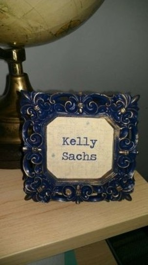 Blue and Gold Place Card Frames Reception Decoration