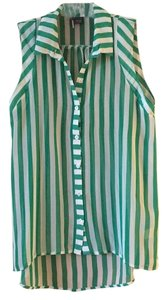 Sparkle & Fade Top Green and white stripe