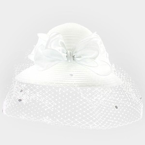 White Bridal Cocktail Hat With Satin Bow & Birdcage Veil