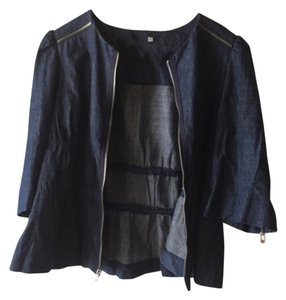 Anthropologie Zippers Dark Wash Detailed 3/4 Length Sleeve Dark blue Womens Jean Jacket