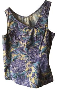 Anthropologie Floral Machine Washable Fitted Top Purple