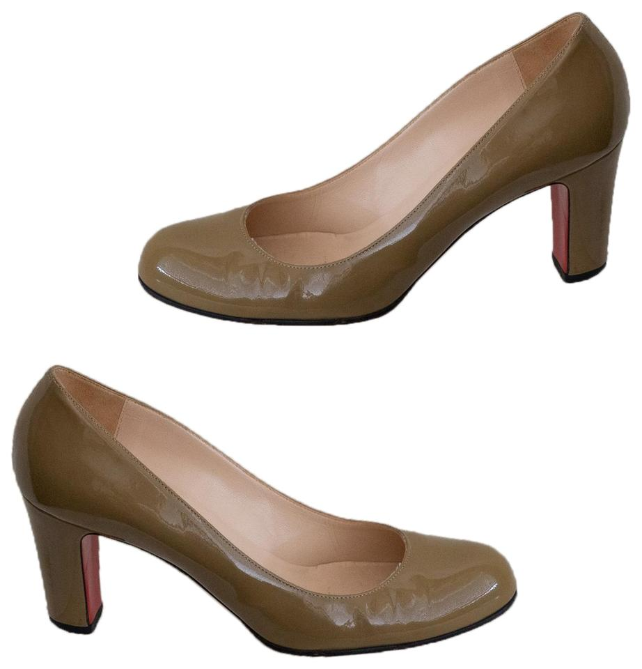 Christian Louboutin Taupe Miss Tack Patent Leather Pumps