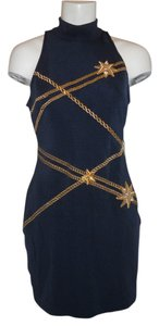 Other short dress navy, gold & silver Knit Chains Stars Tadashi Vintage on Tradesy