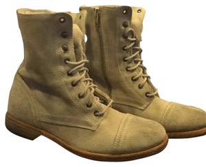 AllSaints All Suede Leather Combat Military Lace Up Jack's Place Light beige Boots