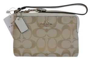 Coach Jacquard Brown Leather Wristlet in Khaki, Brown, Ivory