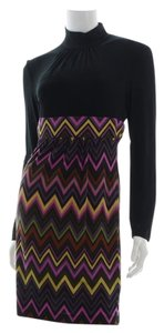Trina Turk Cevron Color High Collar Zipper Dress