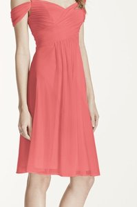 David's Bridal Coral Reef David's Bridal Short Mesh Dress With Split Sleeves Dress