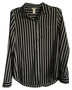Forever 21 Button Down Shirt Black Stripe