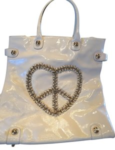 Betsey Johnson Unique Patent Leather Tote in Cream
