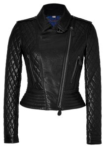 Burberry Leather Quilted Moto Biker Motorcycle Jacket