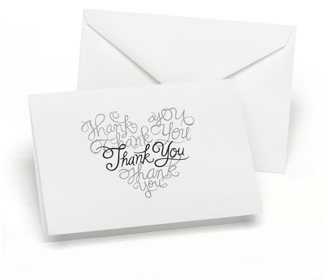 Item - White/Black Heartfelt Thank You Cards Wedding Accessories 50 Count Heart Shaped Thank You Cards Wedding Guest Thank You Cards
