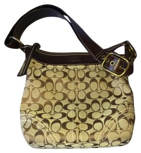 Coach Tote in Tan Canvas With Dark Brown Leather