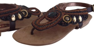 Matisse Sandal Jeweled Brown Leather Chocolate Sandals