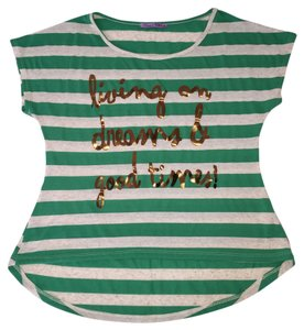 Rheea & Co. & Co Good Times Text Shirt High Low Green Stripe Shirt Stripe High Low High Low Stripe Green Stripe Gold Text Tee T Shirt Green/White Stripe