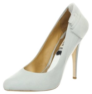 Badgley Mischka Formal Chiffon Grey Silk Pumps