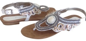 Matisse Rune Leather Beaded Jeweled White Sandals