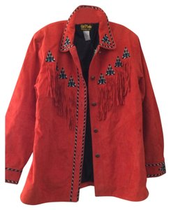 Bob Mackie Red/Orange Leather Jacket
