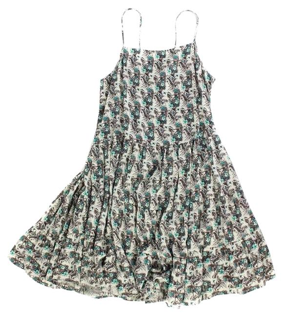 Item - Blue Brown White Corset Tie Pleated Pocket Summer Large Above Knee Short Casual Dress Size 14 (L)