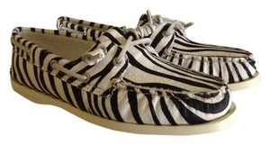 Sperry Calf Hair Zebra Leather White/Black Flats