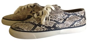 Sperry Calf Hair Zebra Leather Boat Taupe Flats