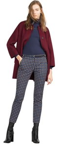 Zara New Nwt 10 New With Tags Geometric Print Printed Belt Work School Blue Trouser Pants Multicolor
