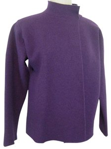 Eileen Fisher Open Front Eggplant Purple Jacket