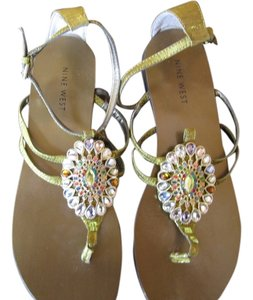 Nine West Metallic Textile Multi Color Crystal Embellished Gladiator Ankle Buckle 7.5 Pink Yellow Clear Blue Green Red Coral Gold Sandals