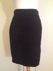 Banana Republic 100% Suede Leather Pencil Mini Skirt Black