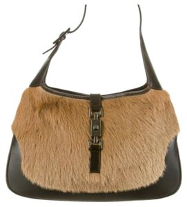 Gucci Jackie Leather Pony Hair Satchel in Tan