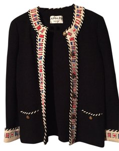 Adolfo Wool Vintage Flags Black Jacket