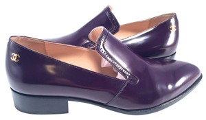 Chanel 15a Black Slide Oxford Loafers Dress 38.5 purple Mules