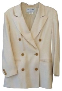Jaeger Quality Look! Cream and gold plaid Blazer