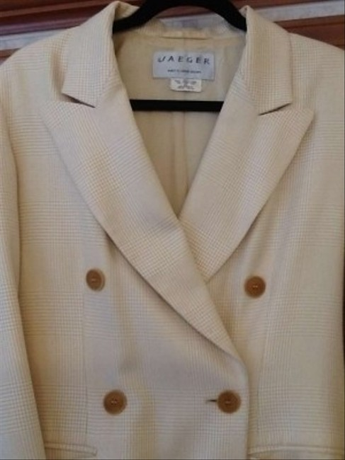 Jaeger Quality Look Cream and gold plaid Blazer