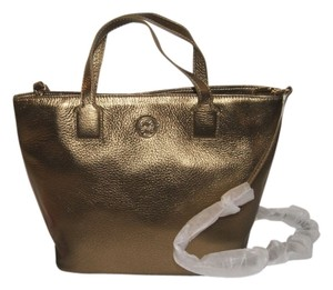 Tory Burch Leather Tote in Antique Gold