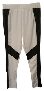Motorcycle Faux Leather white and black Leggings
