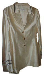 Escada Blazer Sequins Elegant Cream Button Down Shirt Off White