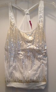 Julie's Closet Top White, gold sequins