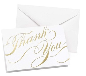 Hortense B. Hewitt Gold/White Unending Gratitude Thank You Cards 50 Count Elegant Wedding Thank You Cards Anniversary Thank You Cards