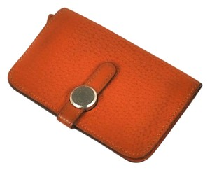 Hermès Authentic Hermes Orange Fjord Dogon Coin Purse with Chain