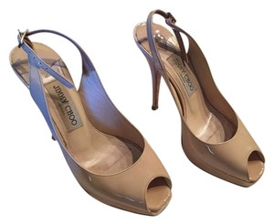 Jimmy Choo Patent Leather Classic Nude Platforms