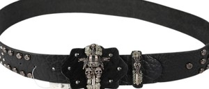 Ivy & Aster * IVY Rocker Sterling Silver/Calf Hair Skull and Crown Belt - Size 32